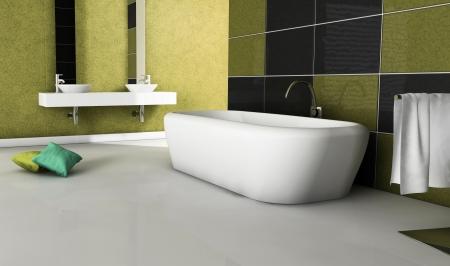 Modernes Badezimmer Mit Modernem Design Und Möbel, Farbig In Gold Gelb,  Schwarz Und Weiß