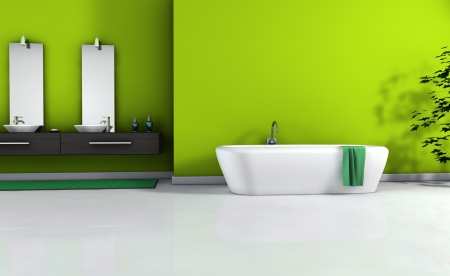 bathroom wall: Home interior view of a contemporary bathroom with modern design and furniture and empty space on wall for your copy, colored in green with white floor, 3d rendering  Stock Photo