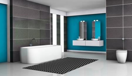 piastrelle bagno: Bagno interno con attrezzature moderne e di design contemporaneo con piastrelle in granito nero e pavimento bianco, rendering 3d