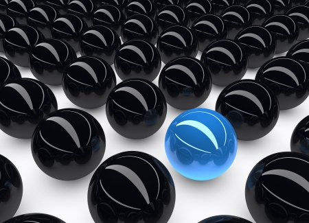 distinguish: Uniqueness and outstanding concept represented by unique blue colored sphere  There Stock Photo