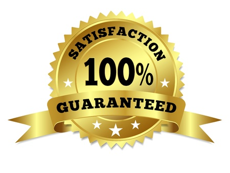Vector gold circular label badge with text 100 percent satisfaction guaranteed, medal with ribbon and stars on white background