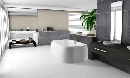Modern home interior of a luxury bathroom with contemporary furniture and design, white floor and black granite tiles  No brandnames objects  photo