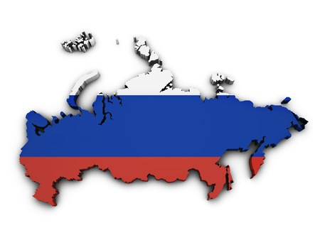 russia map: Shape 3d of Russia map with flag isolated on white background
