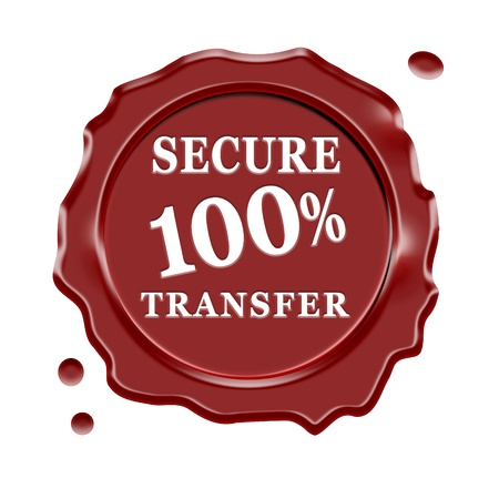 certificated: Red wax seal with central 100 percent secure transfer text isolated on white background