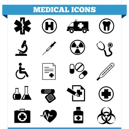 Vector set van medische web iconen en design elementen voor het ziekenhuis, ambulante, kliniek of andere zorginstelling Illustratie op een witte achtergrond
