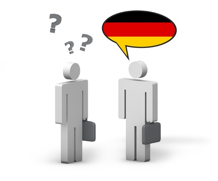speaks: Business German concept with a funny conversation between two 3d people on white background  The man with the Germany flag on the speech cloud speaks a correct language, the other one no