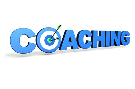 life coaching: Hit the mark and business goals concept with blue coaching sign, target and arrows on white background  Stock Photo