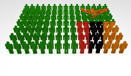 zambian: Parade of 3d people forming a top view of Zambia flag  With copyspace  Stock Photo