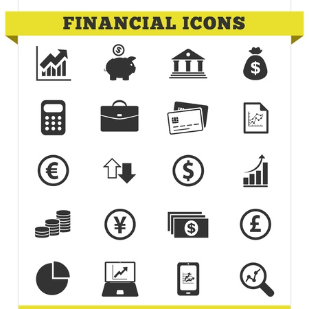 Vector set of financial and money related icons and design elements for web pages, bank, online trading and loan business services  Illustration on white background