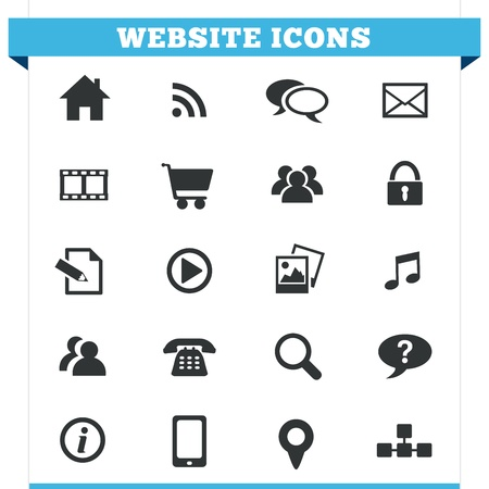 Vector set of website and Internet icons and design elements for blog, forum, online portfolio and web pages  Illustration isolated on white background  Stock Vector - 19495026