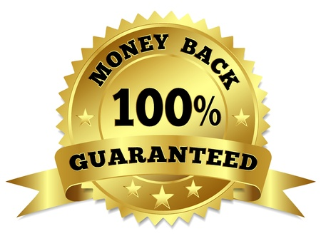 satisfaction guaranteed: Vector gold circular label badge with text 100 percent money back guaranteed, medal with ribbon and stars on white background