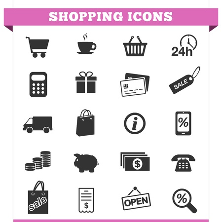e commerce icon: Vector set of shopping and money icons and design elements for web pages, e-commerce store, online shop and retail business services  Illustration on white background