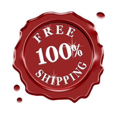 szállítás: Red viaszpecsét központi szövege 100 százaléka ingyenes szállítás az online boltban, és bolt, elszigetelt fehér háttér Stock fotó
