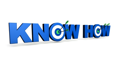 know how: Hit the mark and business goals concept with blue know how sign, target and arrows on white background