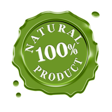 food industry: Green wax seal with central text 100 percent natural product, guarantee symbol for organic and biological food, isolated on white background  Stock Photo