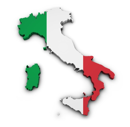 italy map: Shape 3d of Italy map with flag isolated on white background