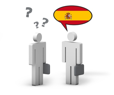 grammar: Business Spanish concept with a funny conversation between two 3d people on white background  The man with the Spain flag on the speech cloud speaks a correct language, the other one no