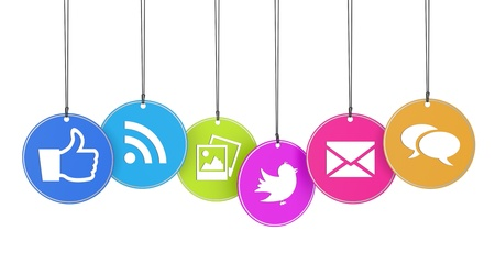 tweet icon: Website and Internet concept with social media icons on colorful hanged tags isolated on white background