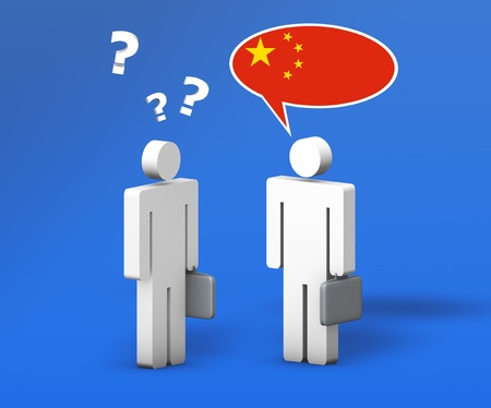 Business Chinese mandarin concept with a funny conversation between two 3d people on blue background  The man with the flag of China on the speech cloud speaks a correct language, the other one no  Stok Fotoğraf