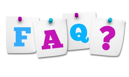 Website and Internet concept with colored FAQ sign and question mark on four paper post it on white background