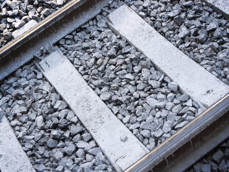 Closeup view of a track on old railway  Transportation and infrastructure background  Stok Fotoğraf