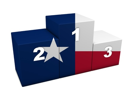 Texan top positions flag podium 3d rendering for concept the best of Texas Isolated on white background