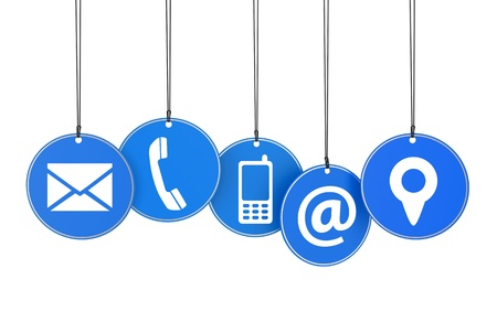 Website and Internet contact page concept with icons on blue hanged tags isolated on white background  photo