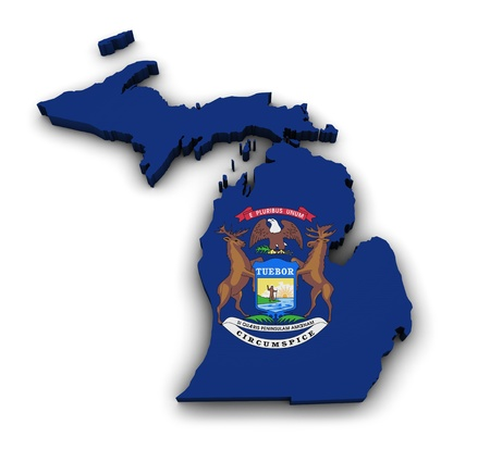 Shape 3d of Michigan state map with flag isolated on white background  photo