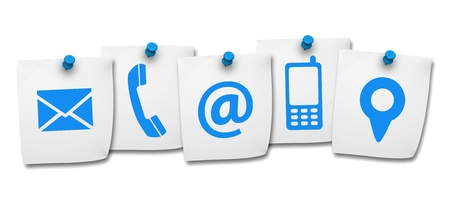 web address: Website and Internet contact us page concept with icon on five paper post it isolated on white background