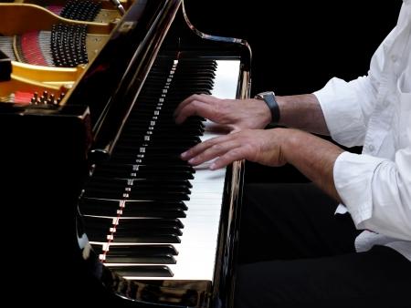 gospel music: Close-up of pianist