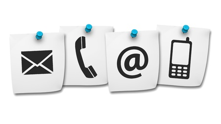 Website and Internet contact us page concept with black icons on paper post it isolated on white background  photo
