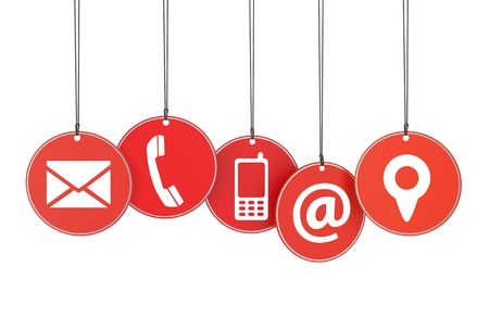 Website and Internet contact page concept with icons on red hanged tags isolated on white background