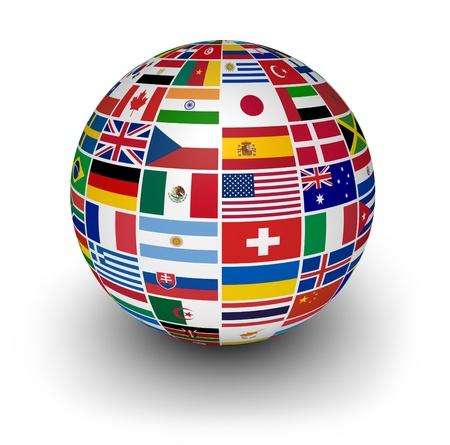 Reizen, diensten en internationale business concept met een wereldbol en internationale vlaggen van de wereld op een witte achtergrond