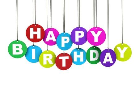 ahorcada: Feliz colorido concepto cumpleaños con etiquetas circulares colgados para la decoración y el diseño creativo en el fondo blanco