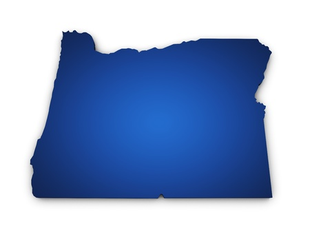 portland: Shape 3d of Oregon state map colored in blue and isolated on white background