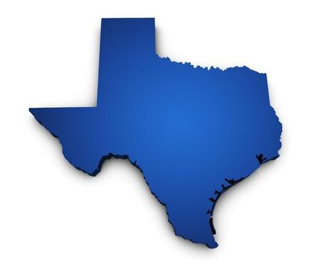 파란색으로 색깔 텍사스 상태지도의 3 차원 형상과 흰색 배경에 고립 스톡 콘텐츠