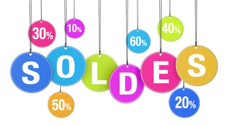 percentages: Sale, discount and promotion shopping concept with soldes word and percentage on colorful hanged tags on white background