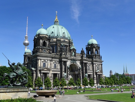 Frontal facade of Berlin Cathedral, the Berliner Dom church during a beautiful sunny day with blue sky in summer, Germany, Europe