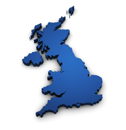 outline map: Great Britain design with 3d shape of United Kingdom map colored in blue and isolated on white background  Stock Photo