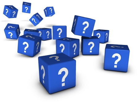 Question marks and Internet faq concept with question symbol on blue cubes on white background