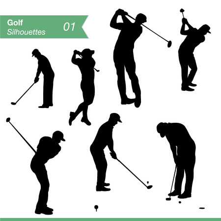 golfer: Sport silhouettes  Collection of men silhouettes playing golf