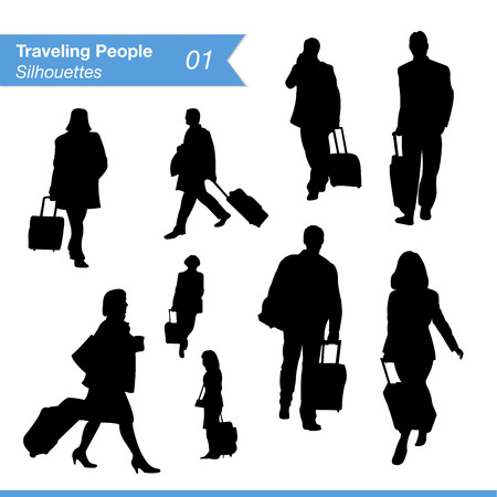 people traveling: Travel and tourism silhouettes  Collection of traveling businessmen and business women silhouettes at airport or train station