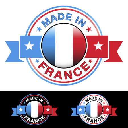 manufactured: Made in France label and icon with ribbon and central glossy french flag symbol
