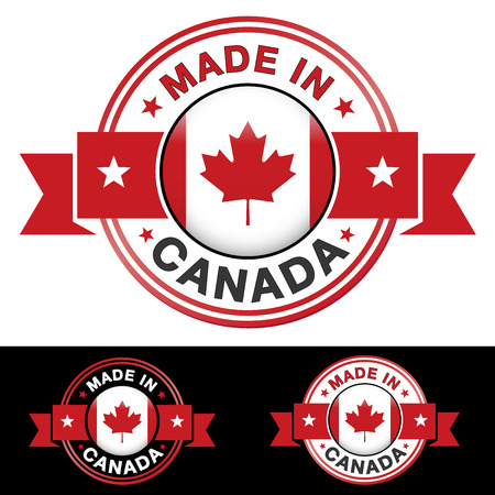 Made in Canada label and icon with ribbon and central glossy Canadian flag symbol Vector