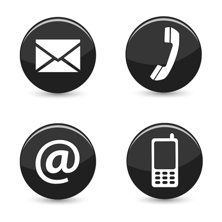 Website and Internet contact us page concept with black glossy buttons and icons isolated on white background  photo
