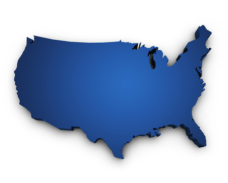Shape 3d of USA United States Of America map colored in blue and isolated on white background