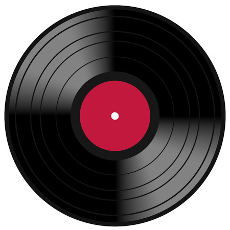 rpm: Image of a vintage and analog 33 RPM LP vinyl disc record with blank red central label for your music copy  Isolated on white background