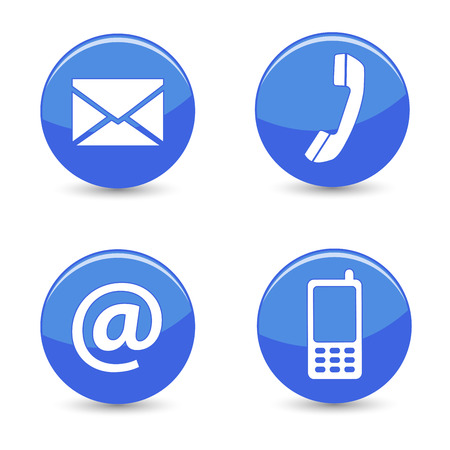 mail icon: Website and Internet contact us page concept with blue glossy buttons and icons isolated on white background  Stock Photo