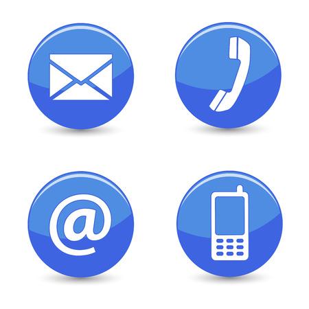 Website en internet contact met ons op pagina concept met blauwe glanzende knoppen en pictogrammen geïsoleerd op een witte achtergrond