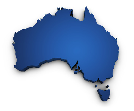 sidney: Shape 3d of Australian map colored in blue and isolated on white background